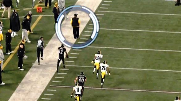 A screen shot from NBC's broadcast of the game between the Steelers and Ravens on Thanksgiving shows Steelers coach Mike Tomlin standing in the way of Ravens kick returner Jacoby Jones during what looked like it would be a touchdown-scoring run. Jones was tackled after a 73-yard return and the Ravens had to settle for a field goal.