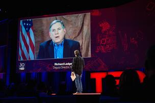 Richard Ledgett, Deputy Director of the NSA, speaks with Chris Anderson via video at TED2014. The Next Chapter, Session 8 - Hackers, March 17-21, 2014, Vancouver Convention Center, Vancouver, Canada.