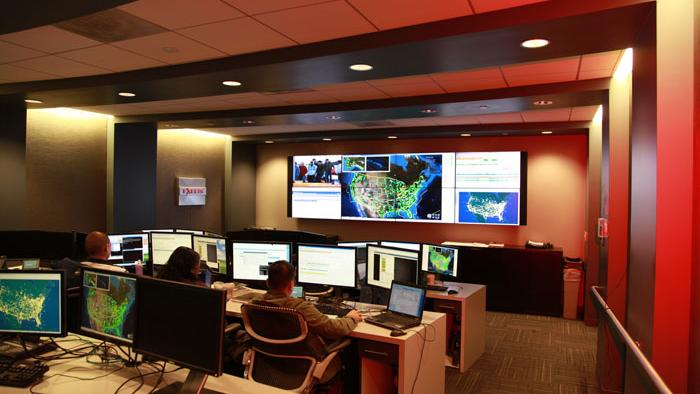 Exelis manages from its Herndon operations center a network of more than 600 ground stations that track airplanes, using automatic dependent surveillance broadcast technology.