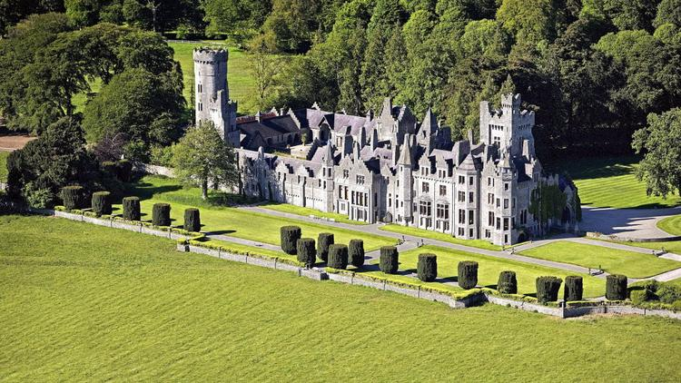 Humewood Castle in Kiltegan, County Wicklow, Ireland, is seen in this undated aerial handout photograph. Billionaire John Malone bought Humewood Castle, about a 90-minute drive south of Dublin, which was built in the 1860s and includes 14 bedrooms, a ballroom, billiards room and a banqueting hall.