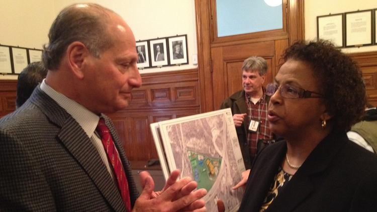 David Flaum, chairman and CEO of Flaum Management in Rochester, NY discusses his proposed Albany casino with Albany Common Council president Carolyn McLaughlin.