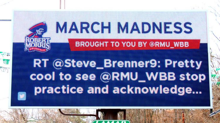 An example of the RMU bulletin board by Lamar. The real-time Twitter feed is controlled by RMU and is instantly updated from tweet to board.