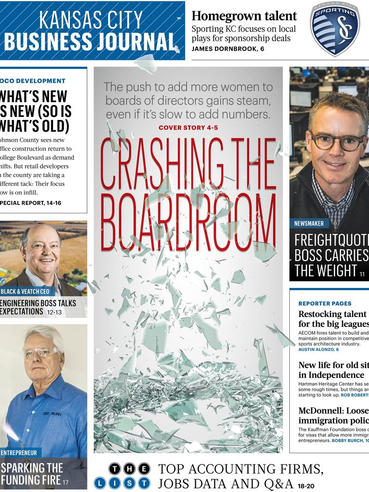 The front page of the Feb. 21 Weekly Edition of the Kansas City Business Journal.