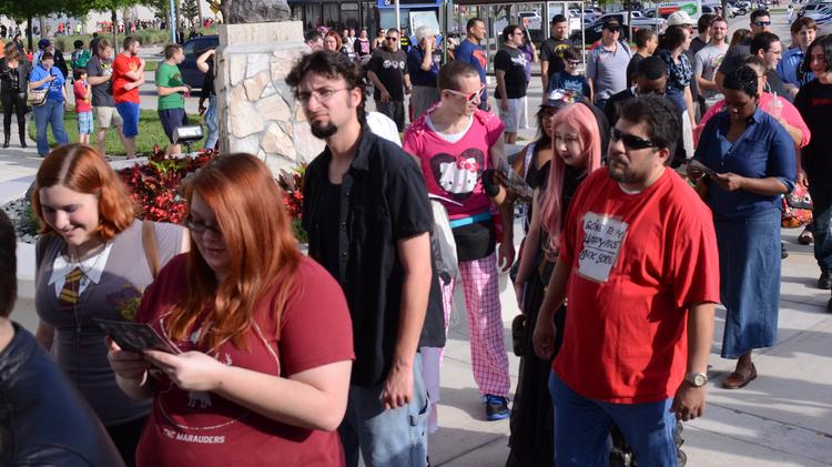 This long line was just the tip of the traffic iceberg attendees experienced at MegaCon 2014.