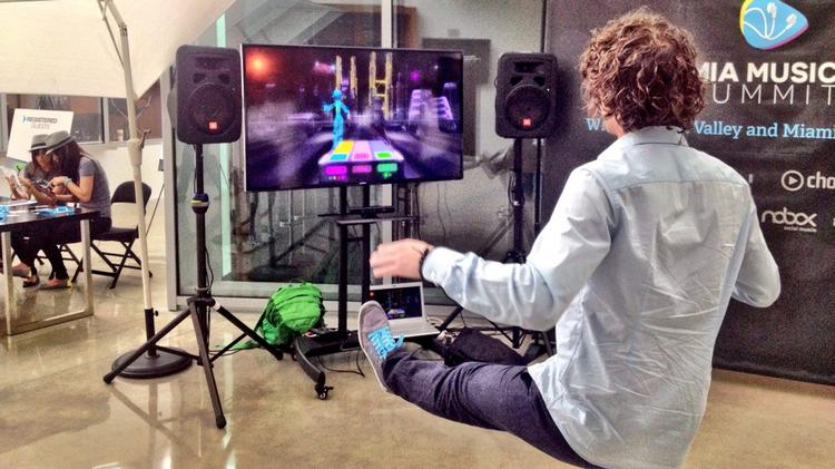 Matthias Strobel, chief marketing officer of Berlin-based Nagual Sounds, creates music using the company's technology.