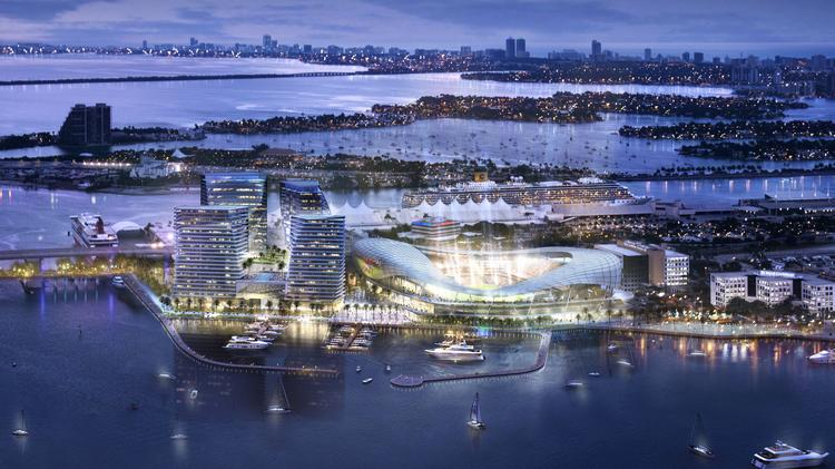An aerial rendering of the Major League Soccer stadium proposed on PortMiami by David Beckham and his investors.