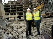 CPMC CEO Warren  Browner, right, at the demolition site in March with Mike Cohill, CEO of Sutter Health West Bay. Demolition is now complete.
