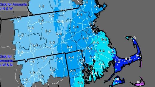 National Weather Service forecast for Southern New England, 25 March 2014 evening through 26 March 2014 evening.