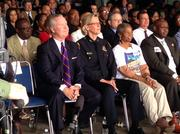 Mayor Bob Buckhorn, next to police Chief Jane Castor, before his State of the City speech.