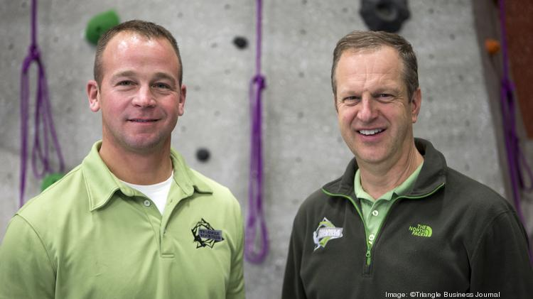 Andrew Kratz, left, and Joel Graybeal are owners of the Triangle Rock Club.