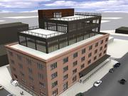 Another view of Swervo's planned renovation and rooftop addition to a historic warehouse in Minneapolis' North Loop district.