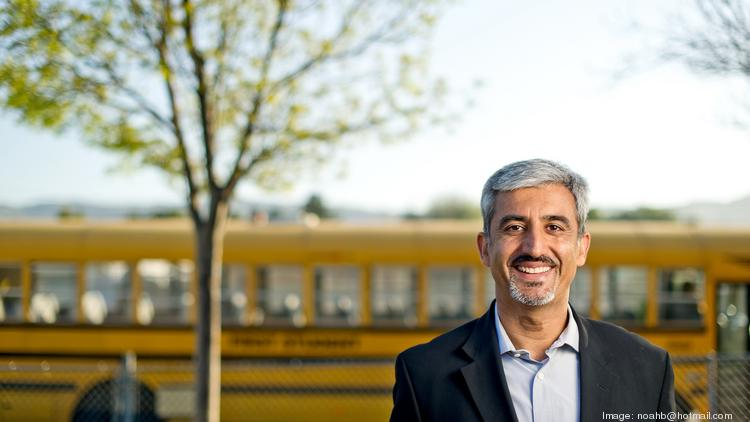 Muhammed Chaudhry, CEO of Silicon Valley Education Foundation, poses at the Adelante Dual Language Academy in San Jose, where students and teachers are currently trying out tools from area education tech startups.