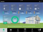 Selecting the energy display screen in the Honda Smart Home's tablet-based control app displays the precise flow of energy in real time.