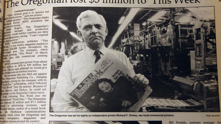 As the Portland Business Journal was starting up, the Oregonian was reeling from its new competitor, the This Week pub that the O eventually bought. Wes Lyle, the Business Journal's first photographer, captured printer Richard Dickey, whose company printed This Week and was said to be an Oregonian acquisition target. The PBJ is marking its 30th year by looking back at previous stories and photos. Lyle was the Business Journal's first photographer. Click through for more photos from the PBJ's earliest days.
