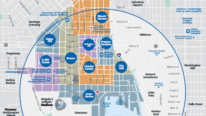 Downtown Partnership of Baltimore Inc. wants to use nine neighborhood names to refer to areas that generally have been lumped into what is called downtown Baltimore.