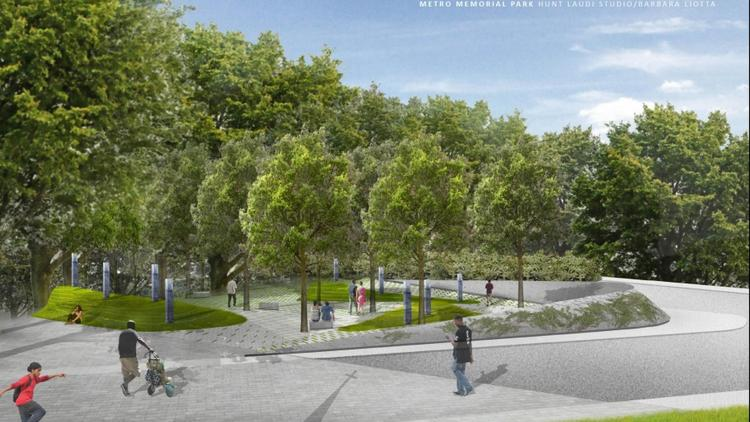 The selected design for Metro Memorial Park features nine granite sculptures, a curved memorial wall and stone benches for seating.