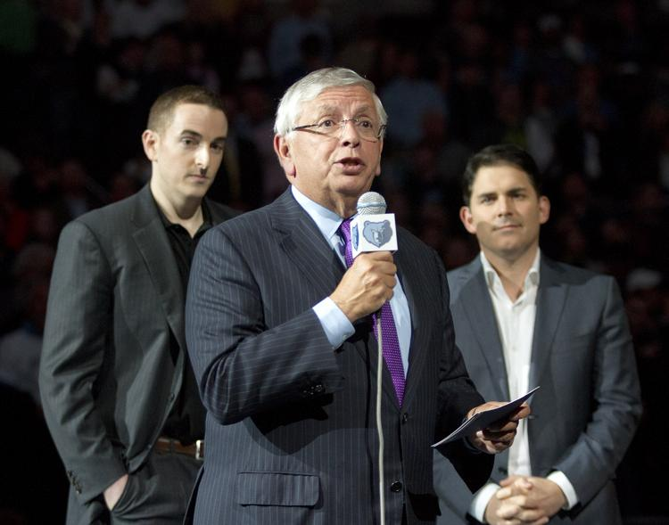 NBA Commissioner David Stern introducing Grizzlies owner Robert Pera and new CEO and managing partner Jason Levien