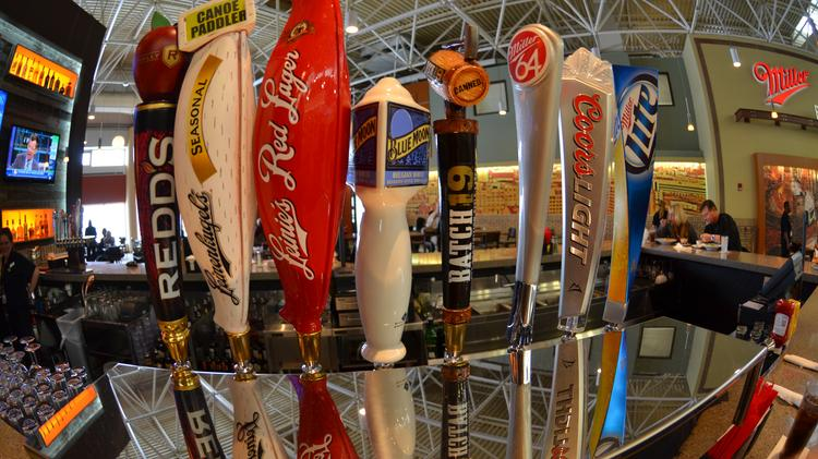 The brewhouse serves 16 beers on tap.