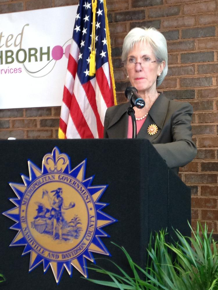 U.S. Health and Human Services Secretary Kathleen Sebelius speaks at the United Neighborhood Health Services clinic in Madison Thursday.