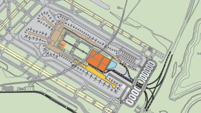 A map of the proposed hotel (in blue), terminal expansion (in yellow) and parking structure (in orange).