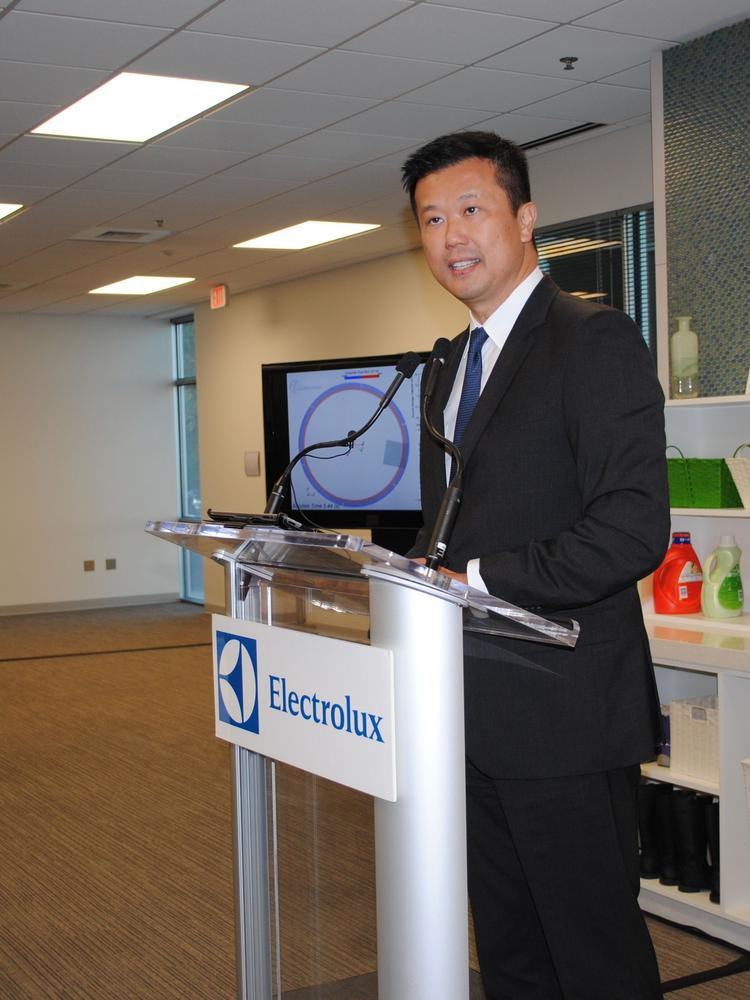 Jack Truong of Electrolux speaks at a recent event at the company's research and development center.