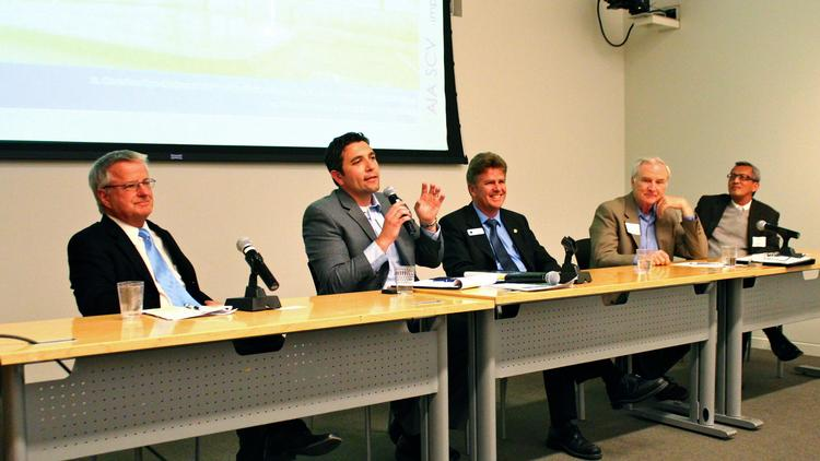 Panelists at a Santa Clara Valley chapter meeting of the American Institute of Architects. From left to right: San Jose Interim Planning Official Steve Piasecki; Menlo Park Economic Development Manager Jim Cogan; Saratoga Councilmember and former Mayor Howard Miller; Grand Boulevard Initiative Manager Michael Garvey; Aedis Architects President Thang Do.