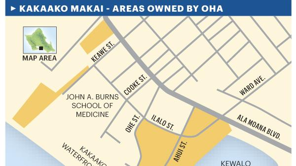 The areas of Kakaako Makai owned by the Office of Hawaiian Affairs.