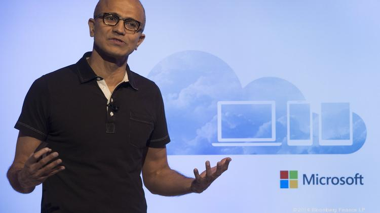 Satya Nadella, chief executive officer of Microsoft Corp., speaks during an event Thursday in San Francisco. In a blog post, Nadella went philosophical in discussing the nature of the cloud.