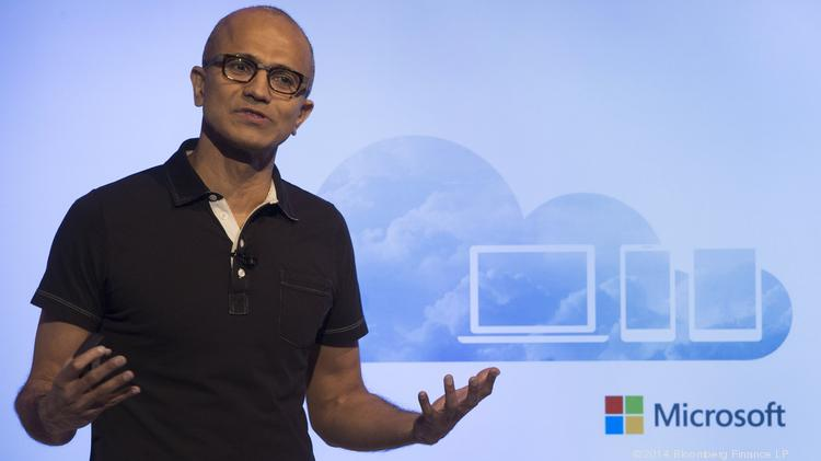"""Satya Nadella, chief executive officer of Microsoft Corp., said in a conference call with investors that Microsoft's goal is to deliver """"a cloud for everyone, on every device."""""""