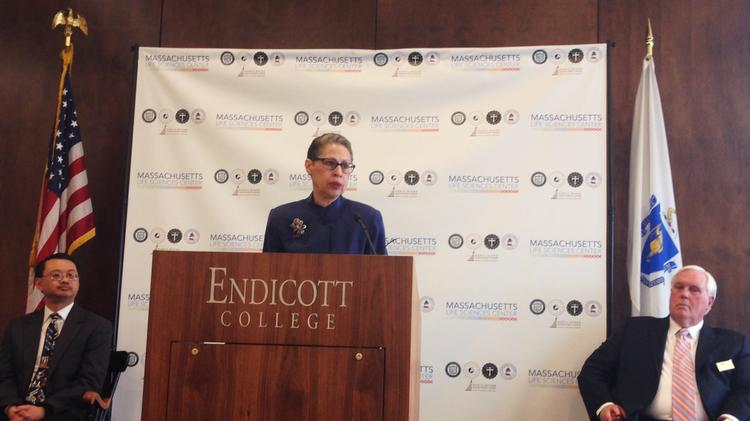 Susan Windham-Bannister, president and CEO of the Massachusetts Life Sciences Center, announces a $5 million capital grant for the Life Sciences Consortium of the North Shore at Endicott College.