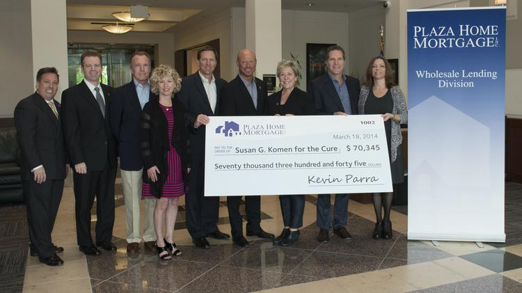 The Phoenix office of Plaza Home Mortgage, Inc. donated $70,345 to Susan G. Komen for the Cure on March 18.