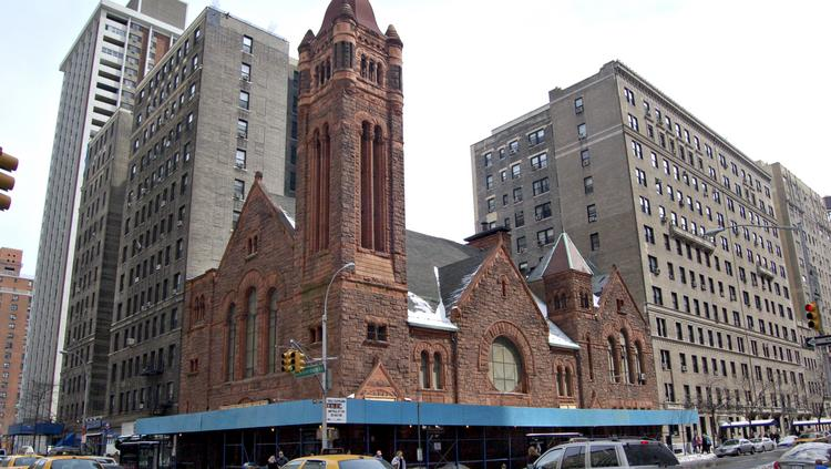 Traffic passes by West Park Presbyterian Church, a circa 1890 building, on the Upper West Side of New York. Before it was designated a landmark, the building was considered for demolition in order to allow for new development at the site.