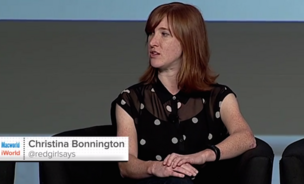 """Christina Bonnington, aka, Red Girl, is a staff writer at Wired and Gadget Lab, where she specializes in tech, apps, science fiction, DIY, and robotics. """"Queen ginger of tech,"""" she writes on her bio. """"I race bikes."""""""