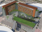 This aerial view included in the city's 2020 Vision for Downtown St. Paul shows how a skyway and courtyard could connect the Seven Corners Gateway site to the Xcel Energy Center.