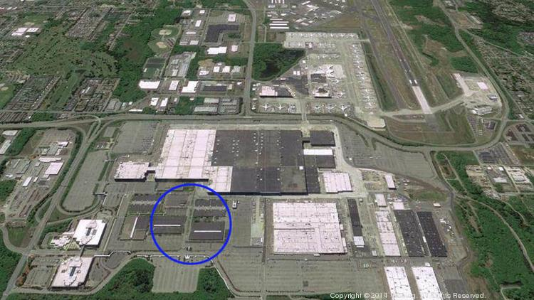 The circle marks the area where Boeing will build the new plant for assembly of the 777X wing.