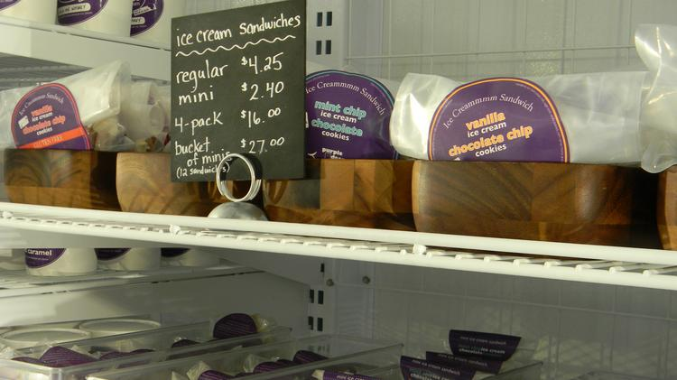 The shop serves ice cream products such as ice cream cakes, sundaes and ice cream sandwiches.
