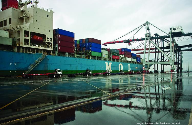 Cargo being handled at the TraPac terminal.