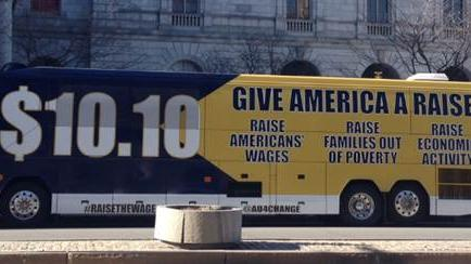 """The """"Give America a Raise"""" bus tour is set to stop in Milwaukee at the Coggs Human Services Center, 1220 W. Vliet St."""