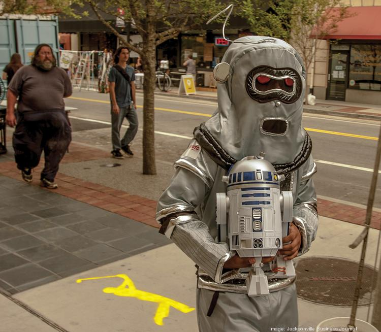 Robauto's Chris Savage was dressed as a robot during One Spark's first day earlier this year. The downtown festival is gearing up for its second go next year.