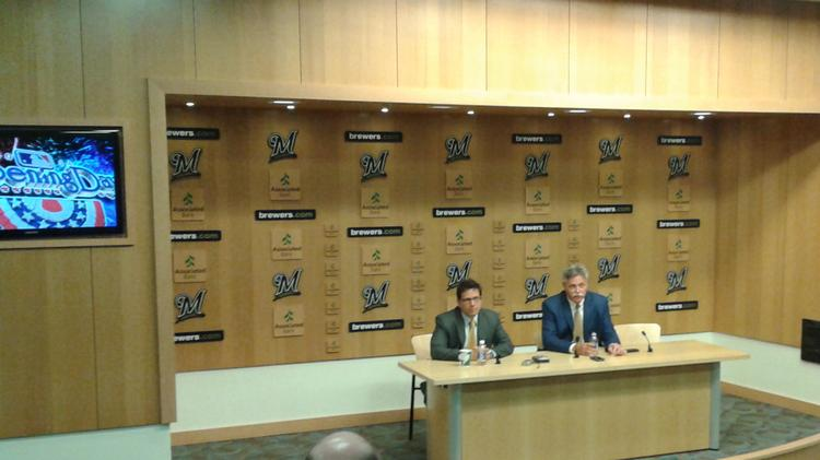 Milwaukee Brewers lead owner Mark Attanasio and general manager Doug Melvin talk to the media on Monday.