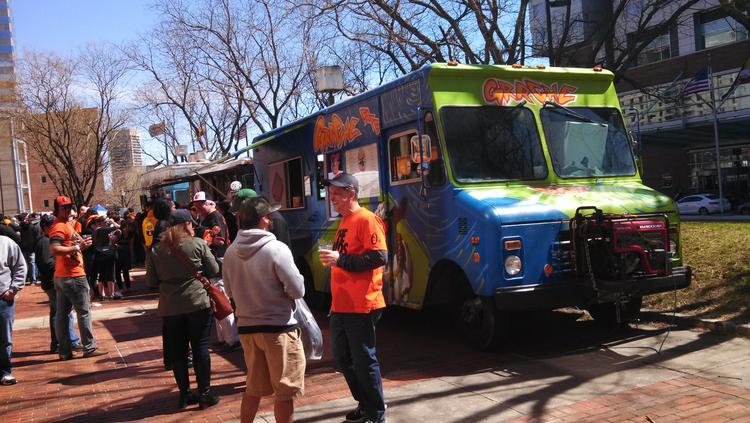 Four food trucks joined the patio party at the Marriott Inner Harbor at Camden Yards on Monday.