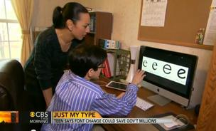 Suvir Mirchandani shows Michelle Miller of CBS News his modest proposal for why the government should switch to Garamond font.