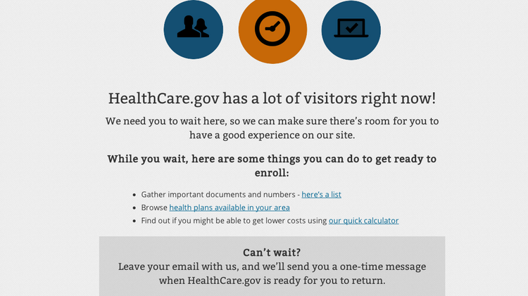 Visitors to Healthcare.gov received this page throughout much of the day Monday, the deadline for enrollment under the Affordable Care Act.