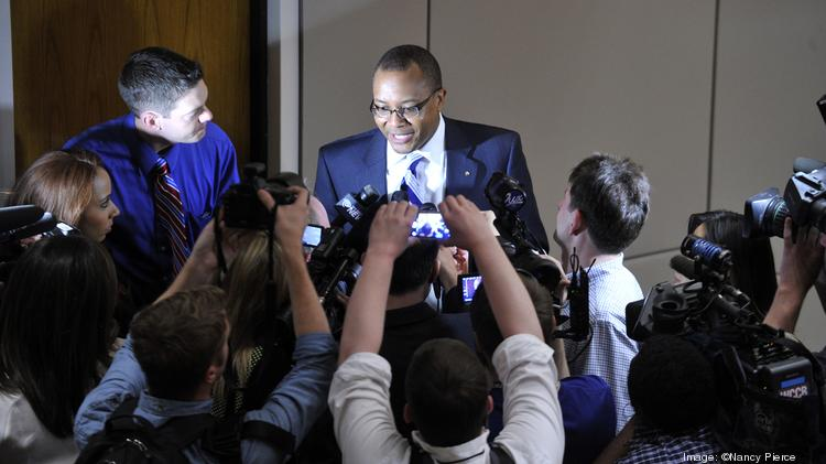Charlotte City Council member and Mayor Pro Tem Michael Barnes speaks to reporters Monday night about finding a replacement for Patrick Cannon.