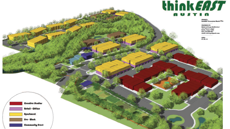 The 24-acre ThinkEast project adjacent to Govalle Park and Shady Lane just east of Airport Boulevard will accommodate as much as 500,000 square feet of residential, commercial and artistic space.