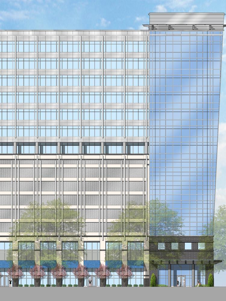 The new building by Spectrum and Tribek would feature seven stories of office space over eight levels of structured parking and approximately 9,000 square feet of ground-floor retail space. LS3P is the architect.