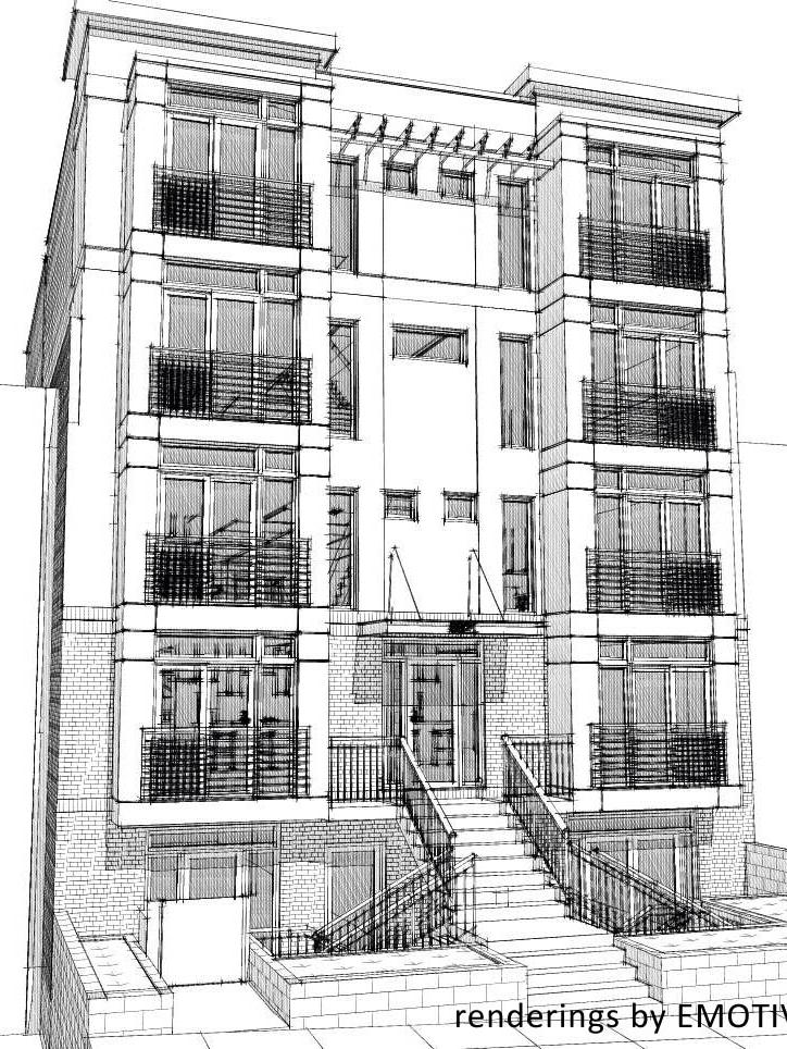 Rendering of 3821 14th St. NW, the former Austin Royster Funeral Home, which will be converted in nine condos and one commercial unit.