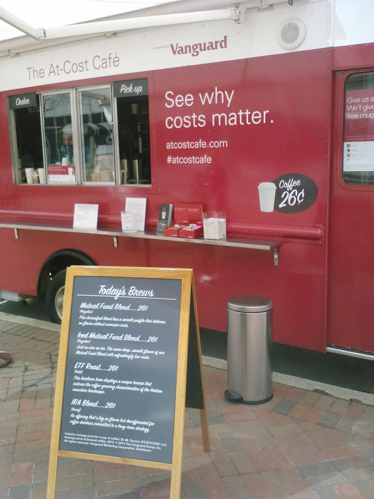 Vanguard parked its mobile cofee cafe in downtown Baltimore, part of a tour that will take it to several cities around the U.S.