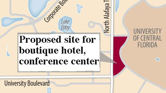 The University of Central Florida is considering putting a boutique hotel and conference center on campus.