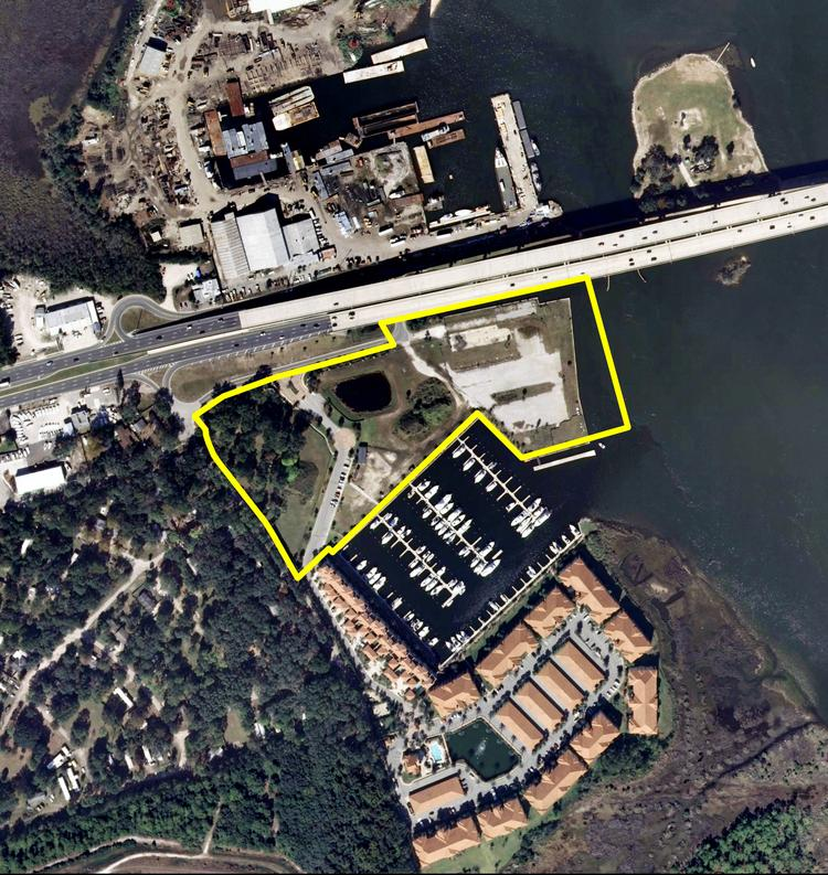 An aerial view of the site where Harbortown will be built.
